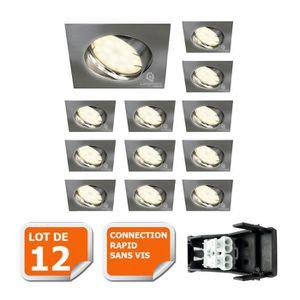 SPOTS - LIGNE DE SPOTS LOT DE 12 SPOT ENCASTRABLE ORIENTABLE LED CARRE AL