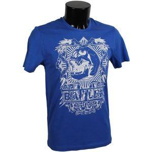 T-SHIRT Tee shirt MMA Battler coton Skull bleu - 14 ans