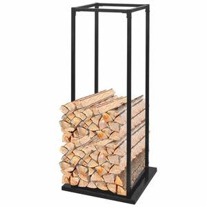POÊLE À BOIS Portant de bois de chauffage avec base 113 cm Noir
