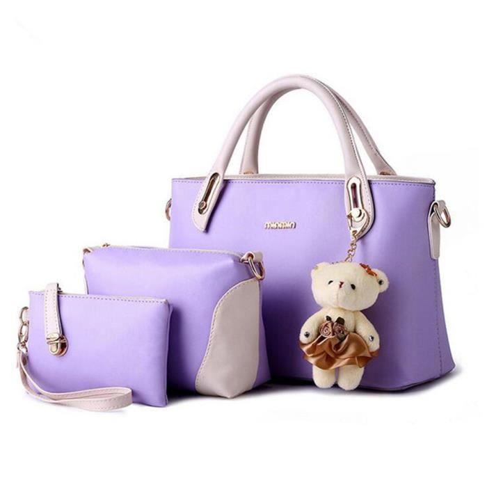 Sacs Mode Sac À Main Pour Femme Portefeuille Vogue Elégant Sac 3 Sets Sacs À Main En Cuir Sac À Bandoulière Femme De Marque violet