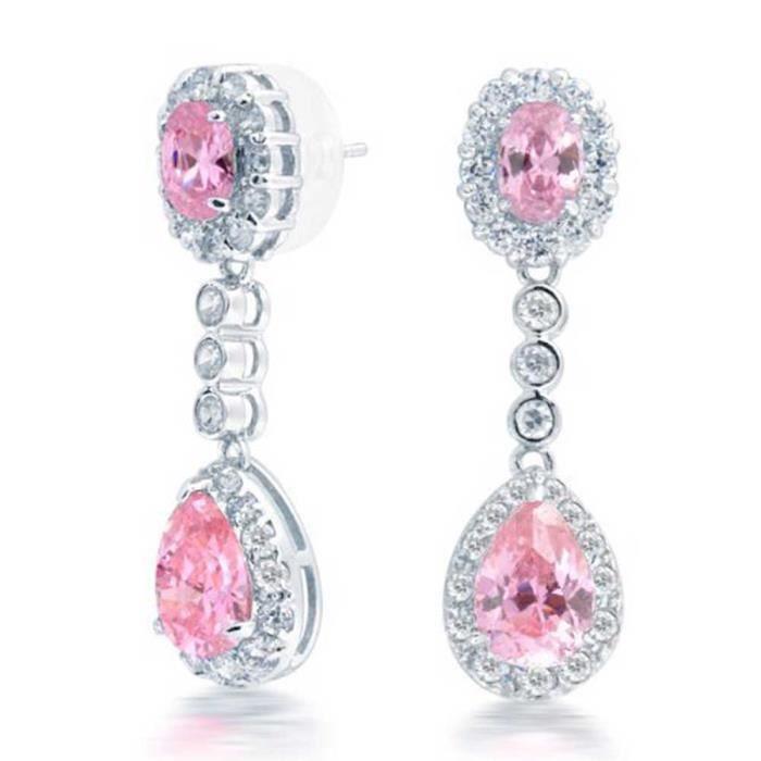 Bling Jewelry CZ couronne sertie de larme Rose Boucles doreilles Chandelier plaqué rhodium