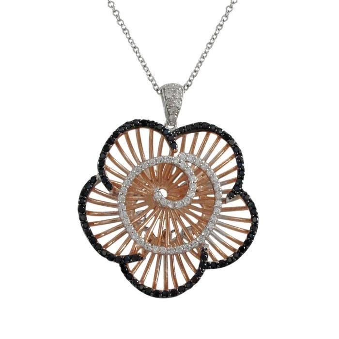 Collier PendentifRose etOverArgent Fin 925-1000 37mm Fleur avec Noir et Blanc Oxyde de Zirconium