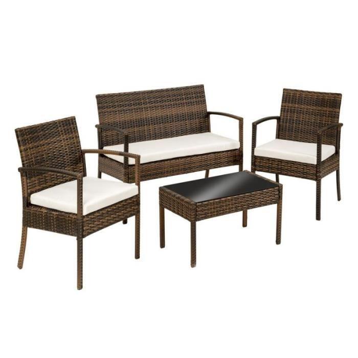 Salon de jardin rotin résine tressé synthétique marron + coussins + housses  2108018