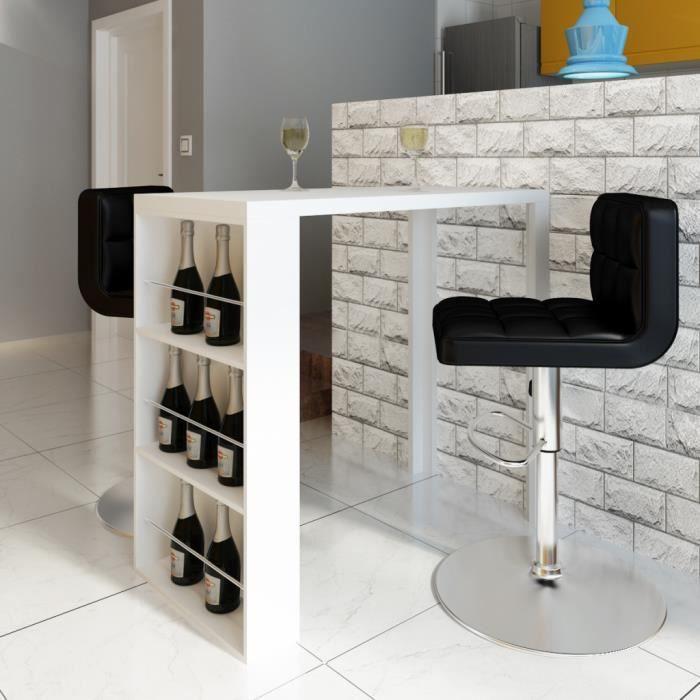 table basse table de bar blanche vernisse avec 3 tagres de
