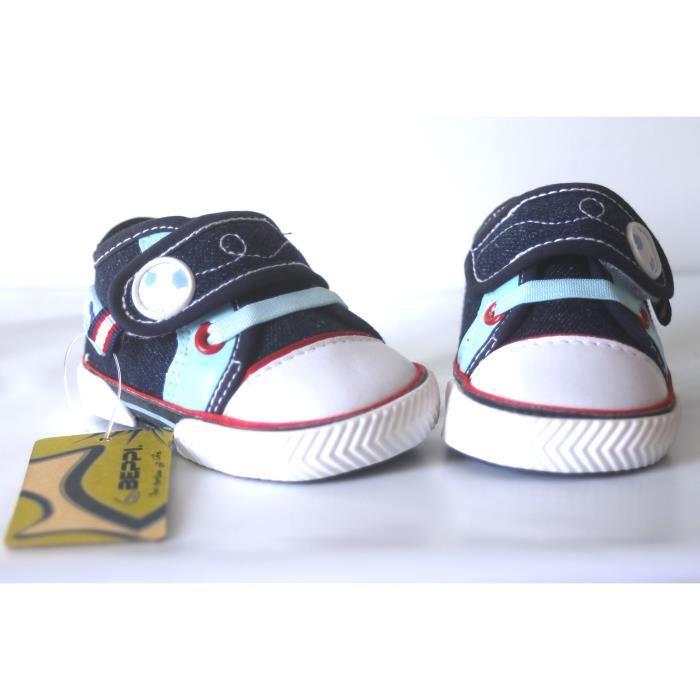 Chaussures Bébé bleu foncé façon basket en toile 17