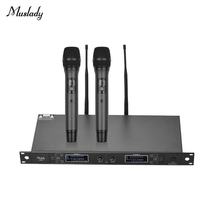 Double Canal Uhf Système De Microphone Sans Fil Avec 2 Micros Portables 1 Récepteur Monté En Rack Pour Réunion D'affaires
