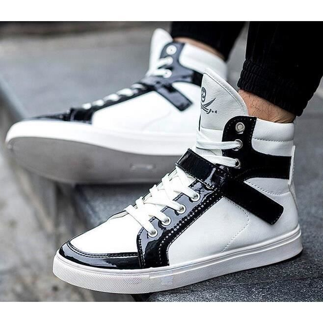 Homme sports PU flats lacer basket chaussures mocassin blanc