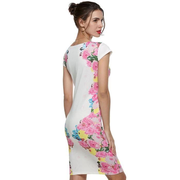 Robe femme Finejo Robe femme florale Sexy manches à encolure col V Fleur Motif robe de soirée