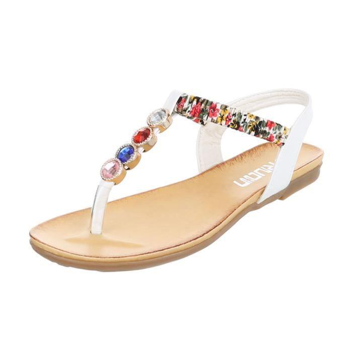 Tongs Chaussures De Sandales Blanc 41 Parsemée Strass Femme Des DHW9IE2Y