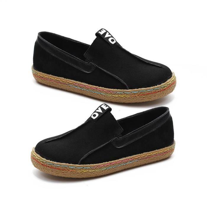 Bodhi Les femmes de mode doux plat en cuir faux Slip-on anti-dérapant chaussures de marche Casual noir 42