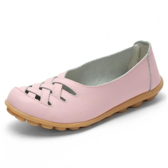 Chaussures plate Femmes Appartements Solides Mère Chaussures Respirantes Grande Taille Cuir Mode Casual Filles Respirant Confortable DqiyC9SX