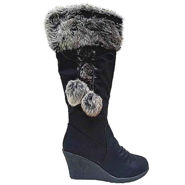 939401fcbe15b Fashionfolie888 - Botte compenseé femme chaussure
