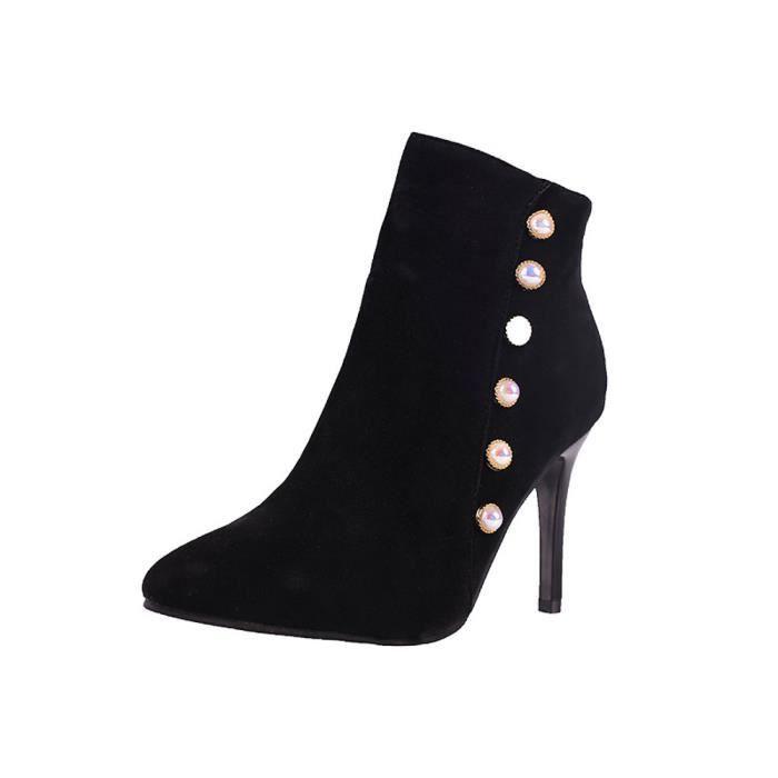 Talon À Martin Perle Court Noir Loisirs Femmes Chaussures Non Fine Lacets slip Bottes Tube qX8WHpW4w