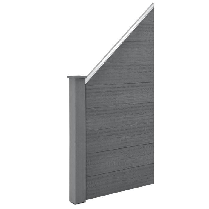 nouveau style 69e91 51cd6 [neu.holz] Clôture de Jardin Brise Vue Brise Vent Bois Composite (WPC) Gris  180 x 96 cm