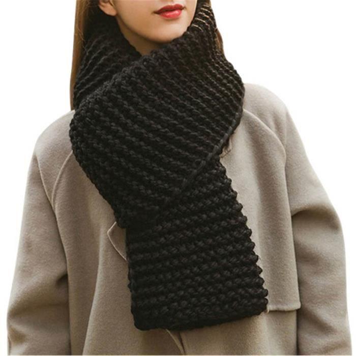 872251cb1f9 Echarpe chale Foulard épais chaud laine en tricot épais de couleur ...