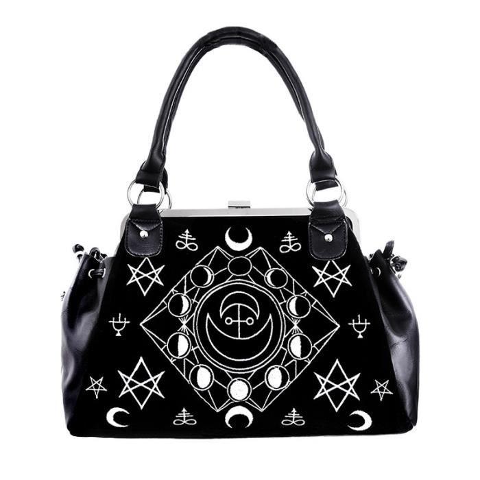 Sac à main en velours noir et broderies symboles et lunes occultes witch goth aille unique Noir
