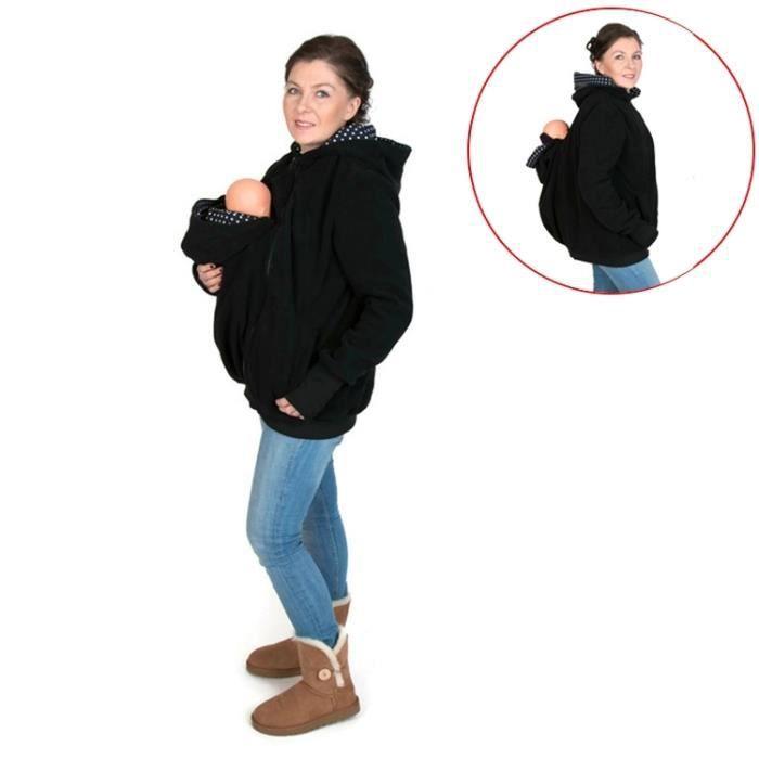 Porte bébé noir et bleu Trois-en-un mère multifonctions Kangourou Zipper  Hoodie Manteau avec Cap avant Taille  S, Poitrine  6f41dabc218