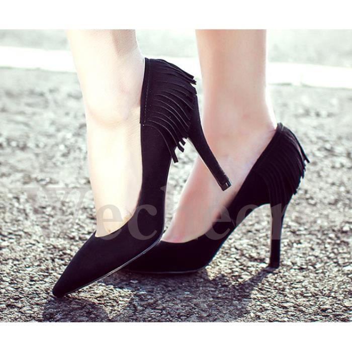 chaussures à talons hauts pointu suédé frangé e... szRflc