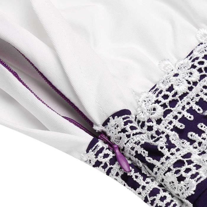 Robe a-line Casual V-Neck Double couchette plissé Tank Patchwork Décoratif Lace Brim Elastic Plissé Hem