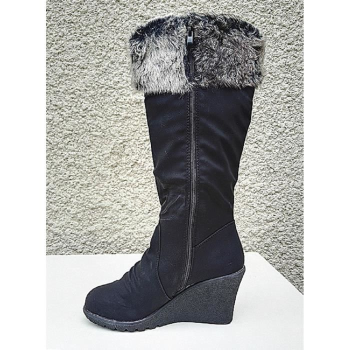 Fashionfolie888 - Botte compenseé femme chaussure talon Fourrée Fourrure pompons chaud PL200-9 NOIR