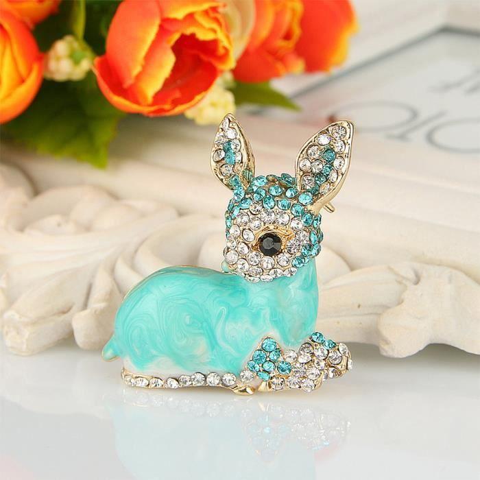 EVER FAITH®-Cristal Austrian Email Animal Faon Broche Bleue Claire Plaqué Or Bonne idée Cadeau N05613-3
