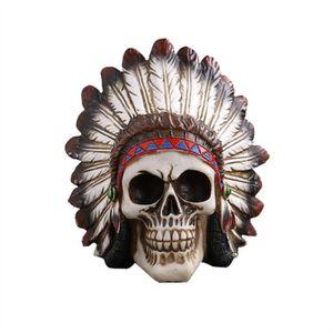 STATUE - STATUETTE Halloween Indien Crâne Décoration Drôle Scary Crân
