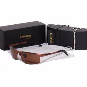 LUNETTES DE SOLEIL Ronsou Hommes Sport Al-Mg Polarisées lunettes de S