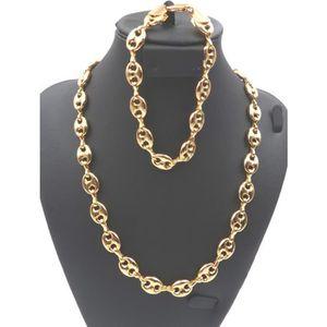 PARURE Parure en Plaqué or,Collier Chaine Bracelet Homme