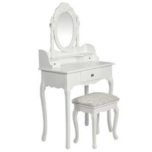 COIFFEUSE Coiffeuse avec miroir et tabouret Mode Simple Blan