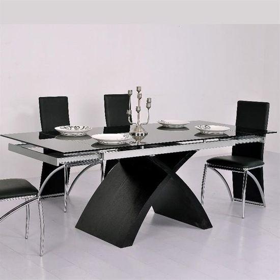Table En Verre Noire A Rallonge Extensible Xures Achat
