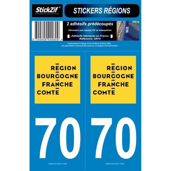 STICKZIF 2 Autocollants Région Département 70 SR70