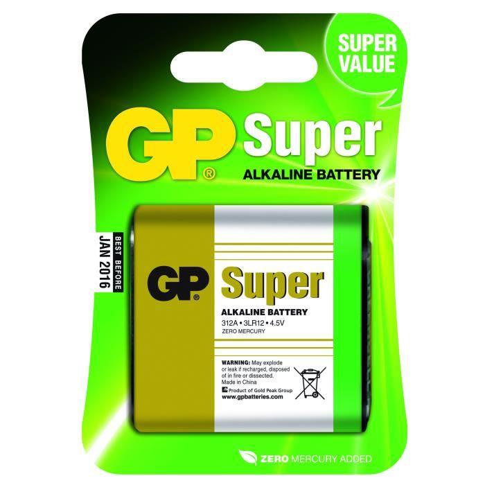 PILES SUPER ALCALINE GP 312AE-U1 / 3LR12 / 4.5V /blister de 1 pile
