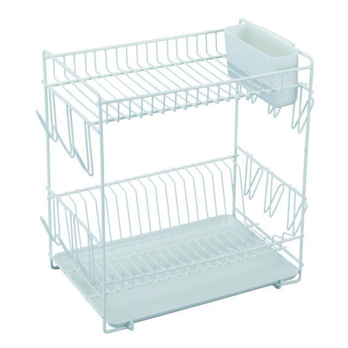 SAUVIC Égouttoir à vaisselle plastifié - Grand modèle - Blanc