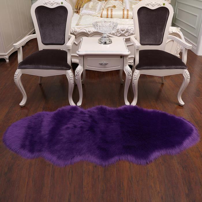 Tapis Salon carpet tapis chambre d'enfant Mouton Art tapis imitation  environ 60x120cm tapis couverture de fourrure fausse Violet