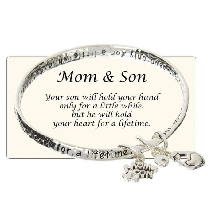 Womens Mom & Son Will Hold Your Hand For A Little While But Your Heart For A Lifetime Charm Bracel GDYF6