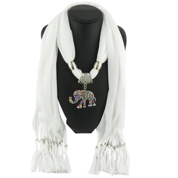 Femmes Elephant Pendentif écharpe avec pompons Echarpes Bijoux en strass WH  LXX51112203WH 1904 59428eec36e