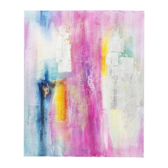 Peinture A L Huile Abstract Rose Et Argent 150x120cm Kare Design