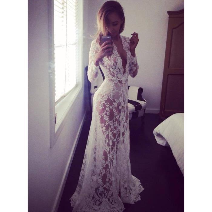 S---lépaule de cols ronde sexy lace transparent raccord dans lélégante robe blanche à manches
