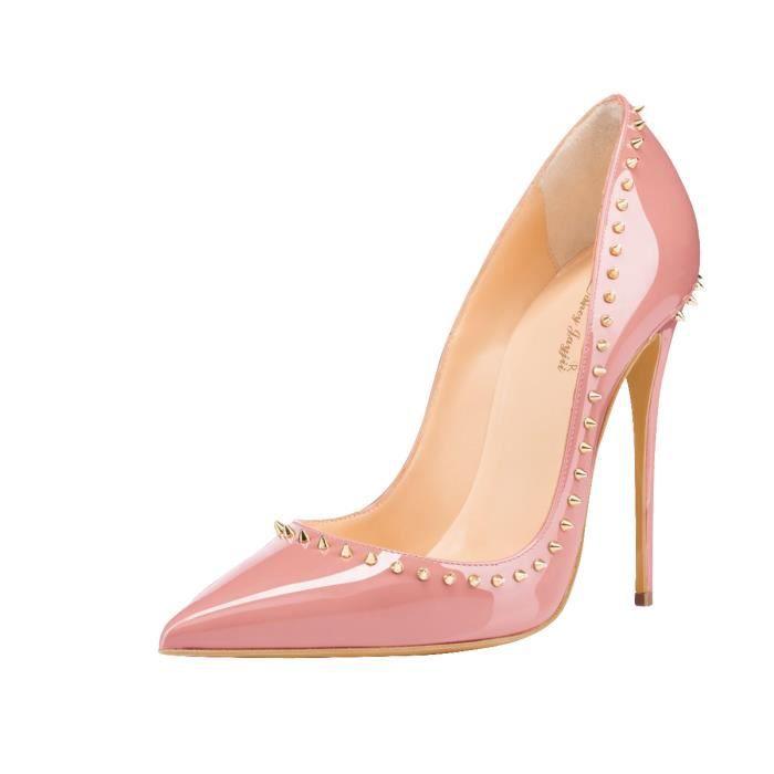 Nancy Jayjii: Escarpins en cuir verni, chaussures pour femmes avec bouts pointus et rivets décoratifs.