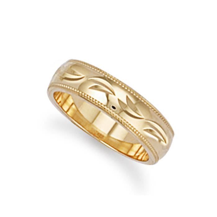 Jewelco Londres 4mm à la main 9K anneau de mariage de diamant taillé en or jaune
