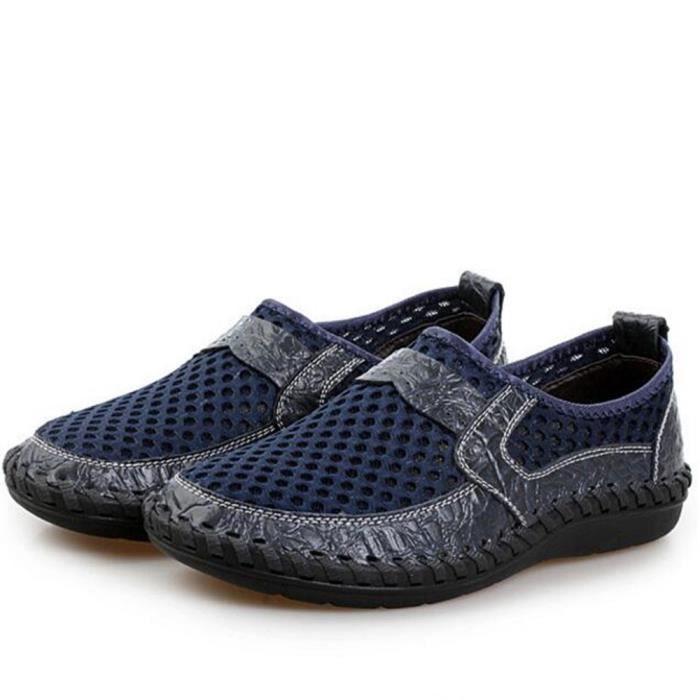 chaussures Luxe Léger la Cuir Travail Confortable plein Moccasin Grande Taille Poids à air de Respirant main véritable 2017 homme rAfxqr