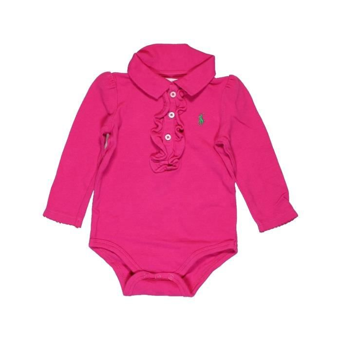 efd4ffddb837 Polo manches longues bébé fille RALPH LAUREN 6 mois rose hiver - vêtement  bébé  1009179