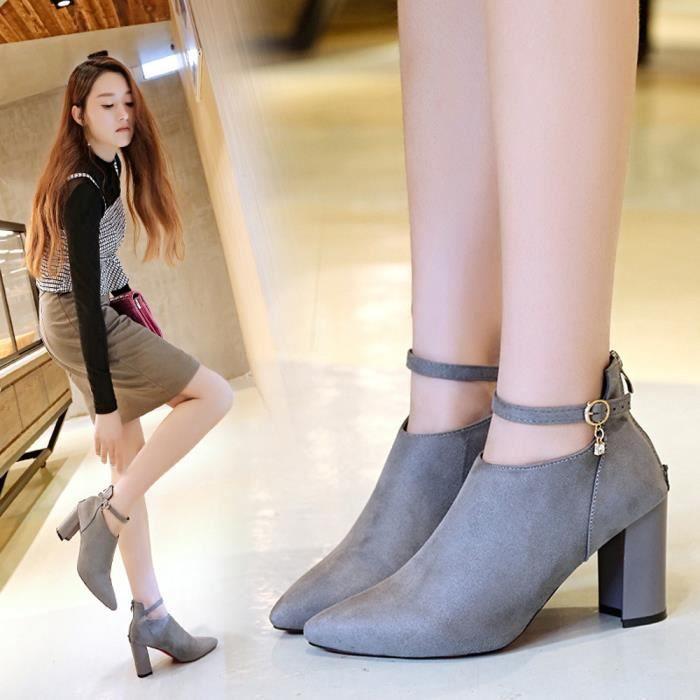Épais Chaussures Matant Talons Parti Classiques Sandales GY Strappy Femmes Hauts Suede wqxACH17g