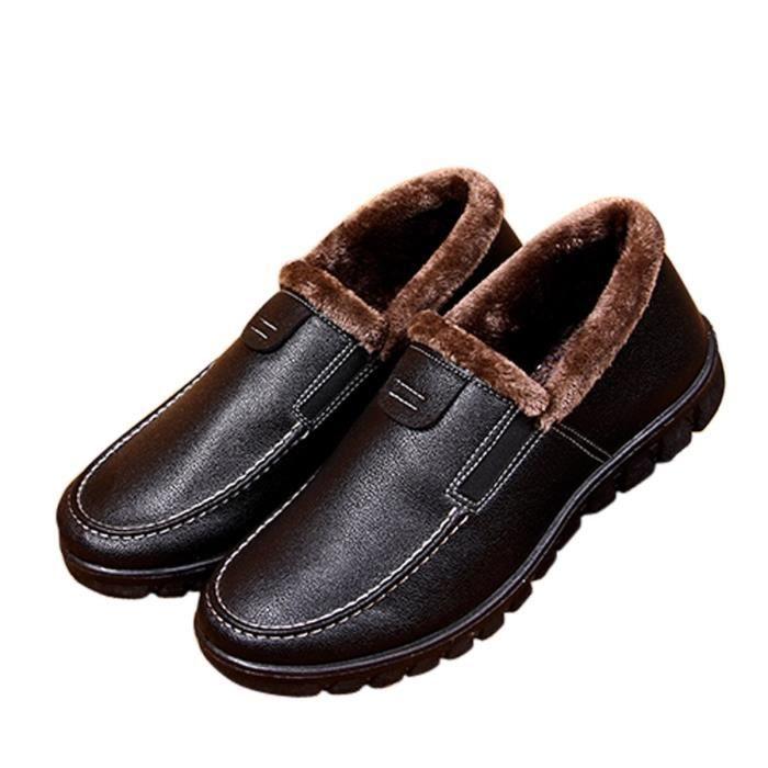 Comfy et chaud Pu Micro Suede en peluche doublure molletonnée Chaussons Maison Chaussures intérieur - extérieur VPAIM Taille-39