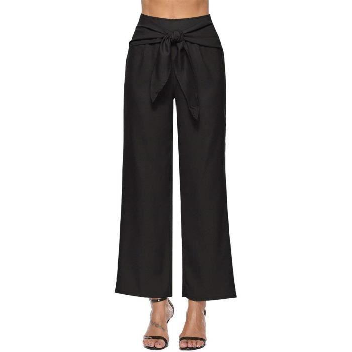Minetom Pantalon Large Femme Palazzo Jambes Large Fluide Chic Mode Élégant  Taille Haute Ceinture Confortable Yoga Pants Sarouel 891aa4e795a