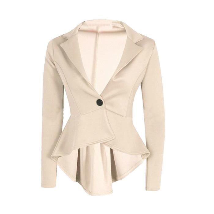 De Veste Beige Femmes Maj Slim Culture Manteau Ladies Jabot Peplum Blazer Nouvelle Fit Des wqPnO7nWa