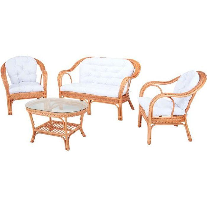 Salon d\'intérieur EDELWEIS en rotin orangé et coussin blanc - Rotin ...