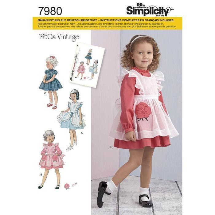 Patron Simplicity 7980 Robe et tablier fillette : A