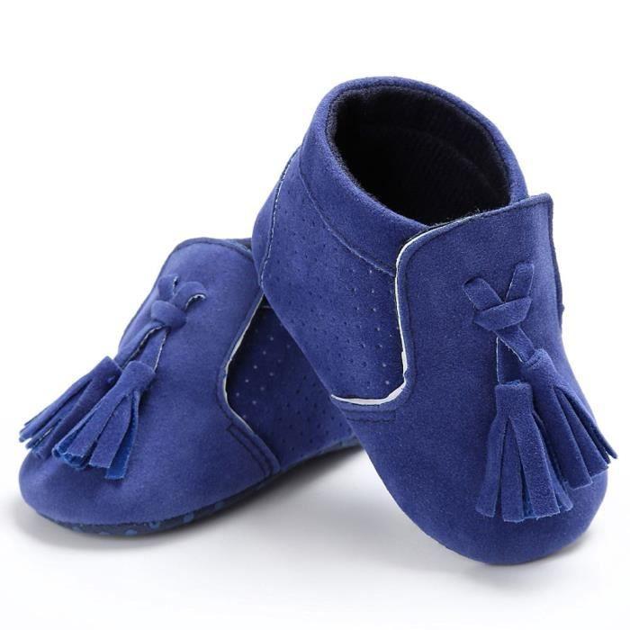 BOTTE Chaussures bébé garçon fille nouveau-né crèche chaussures à semelle souple@Bleu
