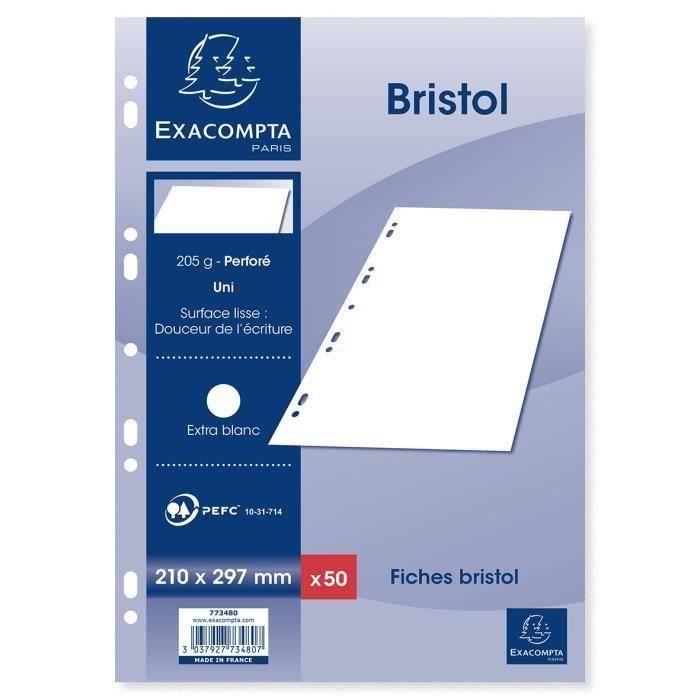 EXACOMPTA 50 fiches Bristol blanches perforées - 210 x 297 mm - Uni PEFC 205 g - Avec encart (Lot de 3)